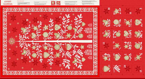 Panel Adventskalender 26 Scandi Tree Red
